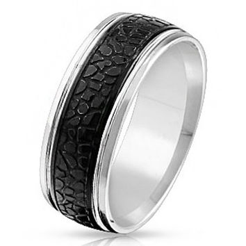 Sea Monster – Black IP silver stainless steel crocodile skin pattern men's ring