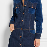 See by Chloé - Patchwork stretch-denim mini dress
