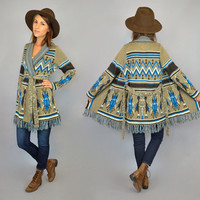 vtg 70's knitted NATIVE AMERICAN ethnic boho hippie wrap belted SWEATER cardigan, extra small-medium