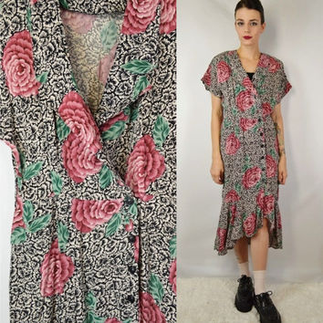 90s Floral Dress Soft Grunge Boho Witch Gypsy Medium High Low Vintage Womens Clothing 1990s Tumblr Black White Pink Shirt Dress Collar