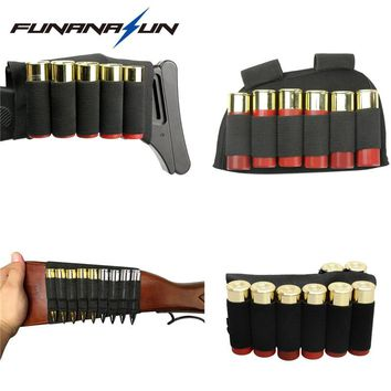 Tactical Shotgun Buttstock Ammo Pouch 5/6/8/9 Shell Bandolier Bullet Holster Rifle Cartridge Carrier Shooting Painball Accessory