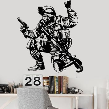 Vinyl Wall Decal Soldier Military War Boys Room Special Forces Stickers Unique Gift (097ig)