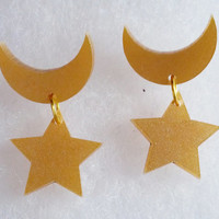 Sailor Moon Earrings: CRESCENT & STAR Metallic Gold Laser Cut Acrylic Sailor Moon Crescent Moon and Star Earrings