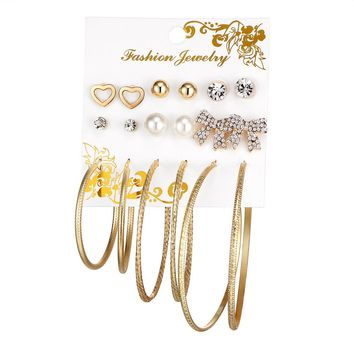 9 pairs/lot Gold Silver Color Metal Bowknot Circle Earrings Sets Women Imitation Pearl Ball Rhinestone Heart Large Hoop Jewelry