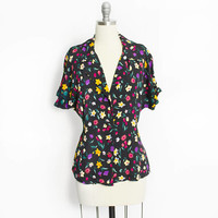 Vintage Betsey Johnson Blouse 1990s does 40s Floral Rayon Top - Large