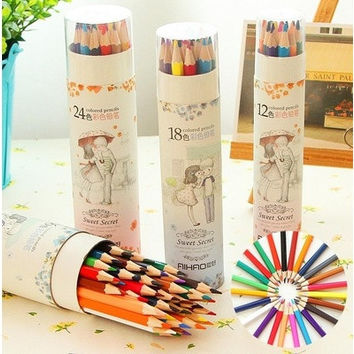 12 18 24 36 Colors Artist Professional Drawing Colored Pencils Writing Sketching [8070933383]