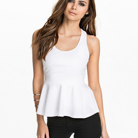 White Sleeveless Cross Back Peplum Top
