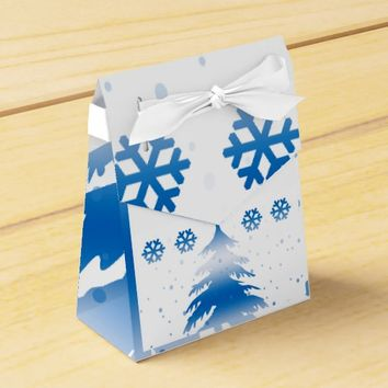 Winter Scene in Blue and White Favor Box
