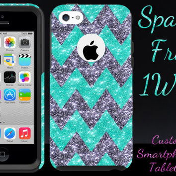 iphone 5c otterbox, iphone 5c case, otterbox iphone 5c, glitter chevron wintermint/smoke black, 5c otterbox, iphone 5c custom commuter case