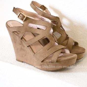 Fiona Suede Taupe Wedges
