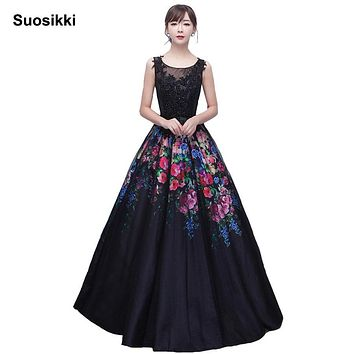 Suosikki Women Long Black Evening Dress Sexy Tank Sleeveless Lace Tulle Appliques Ball Gown Formal Prom Dress Vestido De Festa