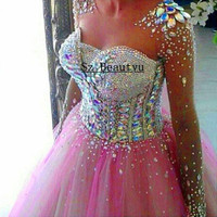 Bling Crystal Long Sleeves Illusion Scoop Prom Dresses Puffy Ball Gown Pink Tulle 2016 Vestido De Festa Party Dress For Women