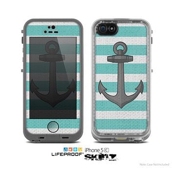 The Trendy Grunge Green Striped With Anchor Skin for the Apple iPhone 5c LifeProof Case
