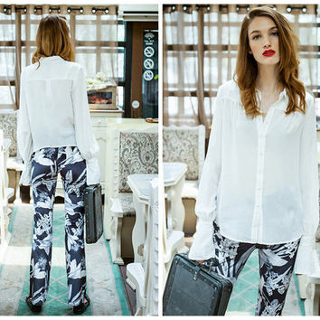 white blouse,long puff sleeve,elegant,make from silk,pleated at back,button down,asymmetrical hem.--E0284
