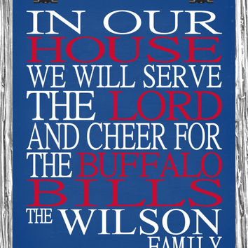 Customized Name Buffalo Bills NFL football personalized family print poster Christian gift sports wall art - multiple sizes