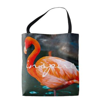 Inspire quote orange pink flamingo photo tote bag