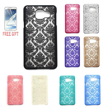 A3 A5 A7 2016 phone case Retro Damask Pattern Engraved Matte Case Back Cover For Samsung Galaxy A310 A510 A710 + Free Film