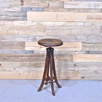 Early 1900s Antique Drafting Stool, Adjustable Wood Drafting Stool