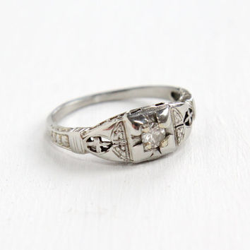 Antique 18k White Gold Art Deco 1/10 Carat Diamond Ring - Size 6 1/4 Vintage Filigree 1930s Embossed Fine Engagement Jewelry