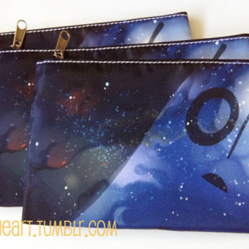 Napstablook Printed Fabric Pencil Case or Cosmetics Bag with Black Zipper - 2 Patterns - Undertale Fanart, Galaxy / Space / Nebula, Ghost
