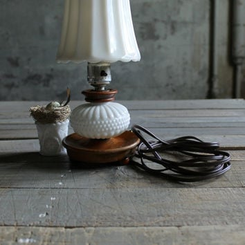 Vintage Small Milk Glass and Wood Lamp Base