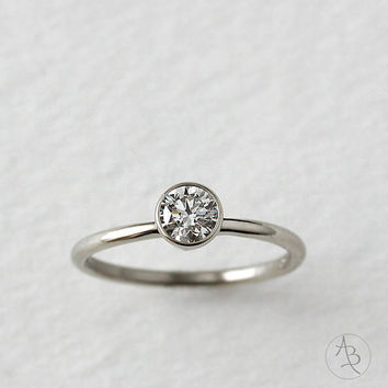 14k gold tapered setting diamond engagement ring, wedding ring, eco friendly