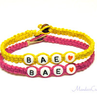 Couples or Friendship Bracelets, Set of Two, BAE, Pink and Yellow Hemp Jewelry - Made to Order
