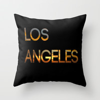 Los Angeles Sunset Tyography Throw Pillow by productoslocos