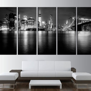 Manhattan skyline wall art, extra large wall art, New York city Large Canvas Print, Manhattan skyline wall art print canvas t463