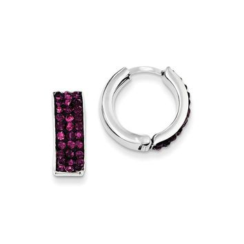 Sterling Silver Purple Preciosa Crystal Small Hinged Hoop Earrings