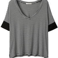 LE3NO Womens V Neck Batwing Sleeve Oversized Striped Shirt