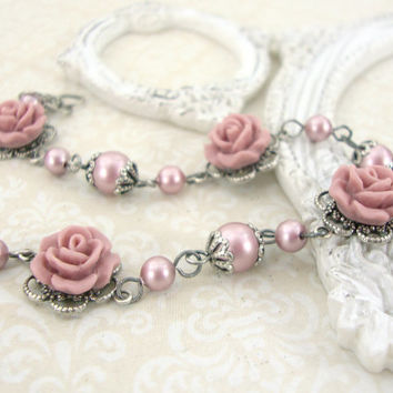 Powder Pink Swarovski Pearl Bracelet with Resin Roses - Dusty Pink Shabby Chic Jewelry - Resin Rose Bracelet Pink Victorian Wedding Jewelry