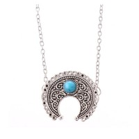 Boho Silver Turquoise Hippie Bohemian Ethnic Moon Pendant Necklace