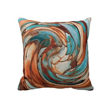 Rust N Blue Abstract Art Throw Pillow from Zazzle.com