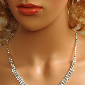 """Bridal Wedding Prom Pageant Crystal Necklace and Earring Set, 18"""" with Adjustable Chain N1Y47"""