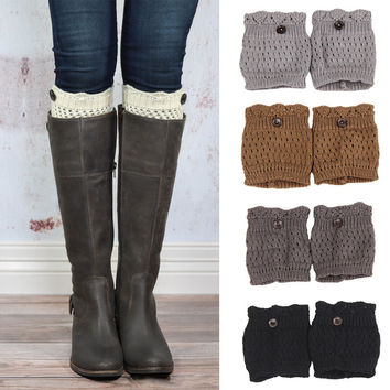 Super Cute Boot Cuffs with Button Accent