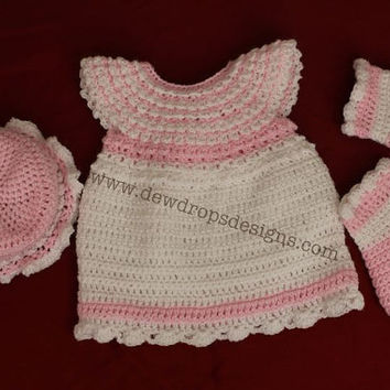 Crochet Dress in Baby PInk and White by dewdropsdesign on Etsy