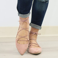 Chinese Laundry Elegant Dancer Rose Pink Suede Lace-Up Ballet Flat