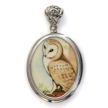Broken China Jewelry Wedgwood Birds of Prey Barn Owl Sterling Pendant