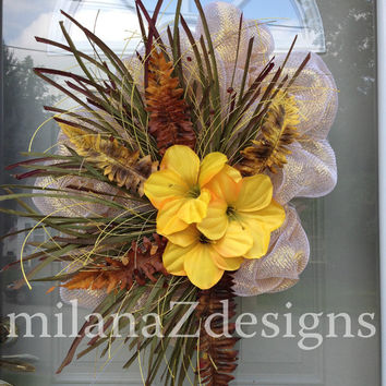 Fall Deco Mesh Wreath, Yellow Hibiscus Baby Shower Decor, Bridal Wedding Decorations, Autumn Harvest Decor, Gold Yellow Brown