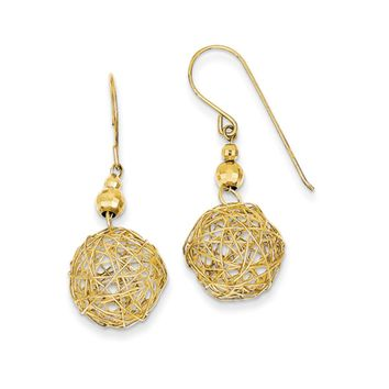 Wire Ball and Faceted Bead Dangle Earrings in 14k Yellow Gold