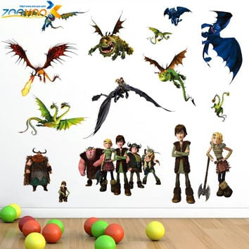 how to train your dragon 2 stickers zooyoo1427 3d movie wall decals boys room decorations hot selling kids room wall arts SM6