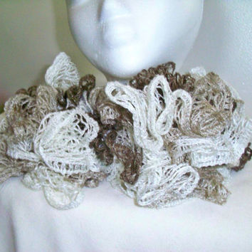Large Ruffle Sashay Scarf-Tan and White