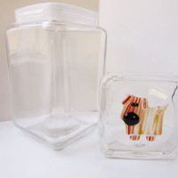 Dog treat jar, dog cookie container, dog lover gift, whimsical fused glass dog, kitchen decor for dog lover, personalized dog cookie jar