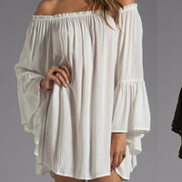 Off Shoulder Bell Sleeve Chiffon Ruffled Mini Dress