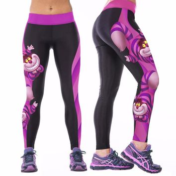 Alice in Wonderland Cheshire Cat Workout Leggings Tights For Women