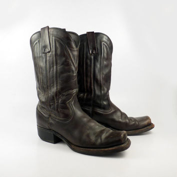 Men's Cowboy Boots Vintage 1970s Square toe Campus Durango Dark Brown Leather size 9