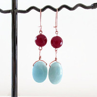 Amazonite and ruby quartz rose gold plated earrings , dark red quartz with pastel green semi precious gemstone earrings , handmade in the UK