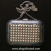 Studded Box Clutch Purse -  Holographic Metallic Silver -  Silver Studs