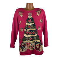 Ugly Christmas Sweater Vintage 1980s Tree  Holiday Tacky Xmas Party Women's size M